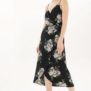Topshop women 8 black floral wrap dress sleeveless